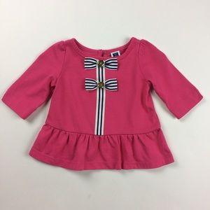 Janie and Jack Capri Pink Grosgrain Ribbon Shirt